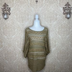 Lane Bryant Semi Sheer Knit/Lace Dolman Sweater